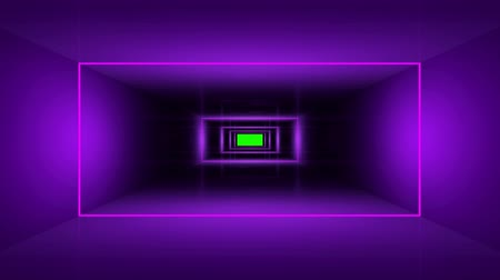 Lilac corridor with glowing squares in motion, green screen alpha