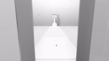 Futuristic rooms and flying cubes. 3d rendering volume