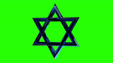 menorah : Jewish star, David star rotates on a green background. Green screen alpha Stock Footage