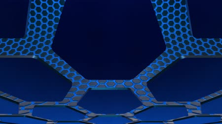 Hexagonal honeycomb texture blue. Uhd 4k background, backdrop texture