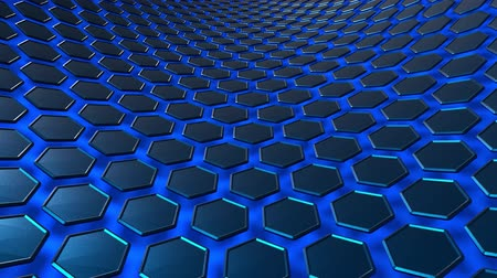 Hexagon honeycomb blue texture in space. Uhd 4k background, backdrop texture