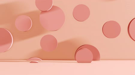 Texture of falling cylinders on a pink background Vídeos