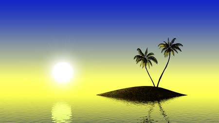 3d animation of a tropical sunset, sea and palm trees Vídeos