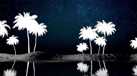 Futuristic animation. Palm trees on the island. view through the window Vídeos