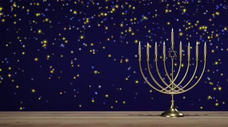 Jewish holiday Hanukkah. Traditional candlestick Стоковые видеозаписи