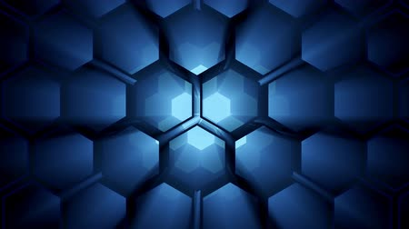 3d animation texture of hexagons in motion slow motion honeycombs. Abstract background for business presentation. Vídeos
