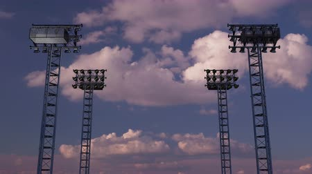 futball labda : Lighting rack with spotlights for football stadiums and other areas. 3D rendering