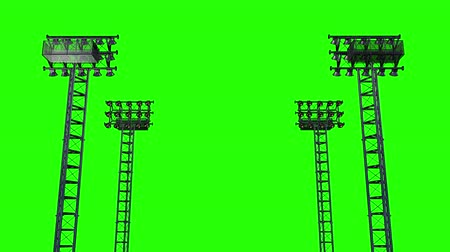 futball labda : Lighting rack with spotlights for football stadiums and other areas. 3D rendering green screen, alpha