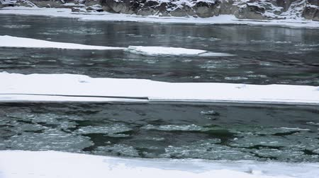 frazil ice : Video panorama of floating of ice and sludge on Altai river Katun in winter season, Siberia, Russia