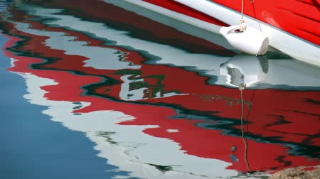 flange : Reflection of Yacht board in calm water Stock Footage