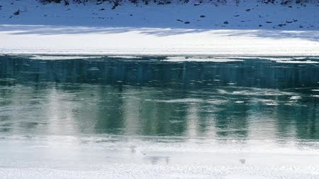 frazil ice : Floating of ice and sludge on Altai river Katun in winter season, Siberia, Russia Stock Footage