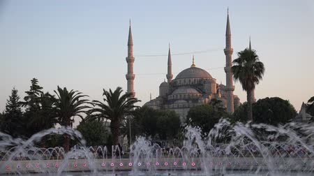 mussulman : Video of the Blue Mosque Sultanahmet Camii over fountain at evening time, Istanbul, Turkey