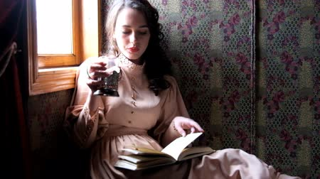 çay fincanı : Young woman dressed in retro dress sitting in the old train compartment and reading book drinking tea