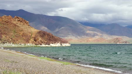 tom : Beach on the shore of the mongolian lake. Tolbo-Nuur.