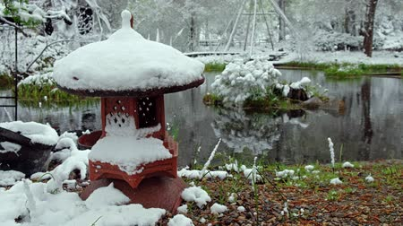 snowbound : Pond in bonsai Park of the Novosibirsk botanical garden under the snow in late Spring snowfall. Siberia, Russia