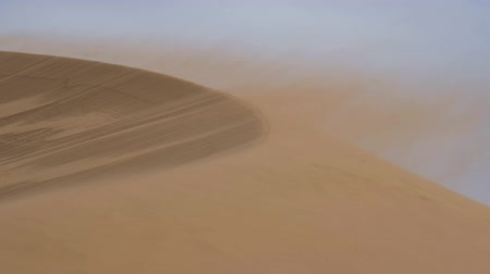 Sandy desert Mongol Els in western Mongolia. Sand fluttering over the sand dunes in the blowing wind.