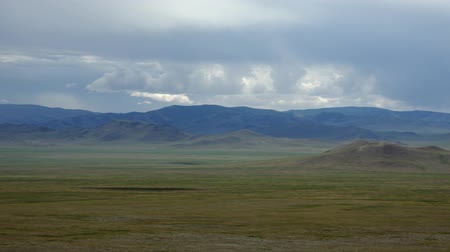 Panorama of natural mongolian grasslands Stock mozgókép