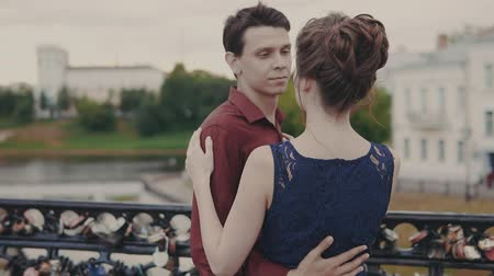 hozzábújva : Young couple embrace each other. Handsome man and woman lovely touching