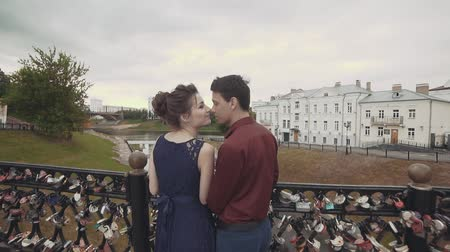 parte : Sensual moment of love. Beautiful young couple enjoying intimate moment Stock Footage