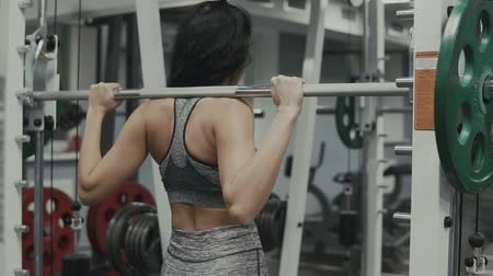quadriceps : Sporty woman in sportswear doing squat workout in gym. Healthy lifestyle concept Stock Footage