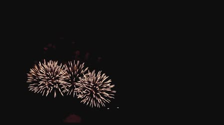 pirotecnia : Beautiful fireworks at holiday night in slow motion with copyspace at right
