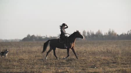 Beautiful woman riding horse at sunrise in field. Cowgirl at brown horse