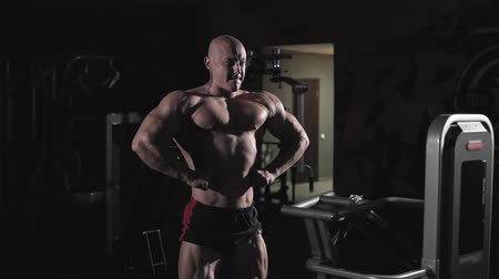 construção muscular : Bodybuilder posing and demonstrating chest muscles and arms in dark gym