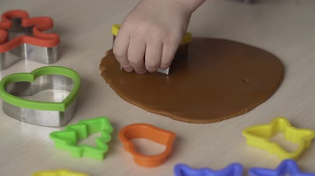 položit : Little girl make christmas gingerbread cookies with cookie cutters. Xmas concept Dostupné videozáznamy