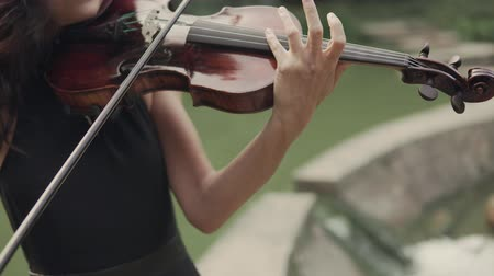 podfuk : Elegant girl in dress plays violin outdoors. Elegant violinist in forest