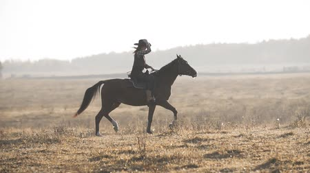 жеребец : Beautiful woman riding horse at sunrise field. Young cowgirl at brown horse
