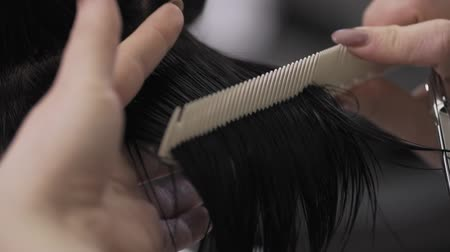 taberna : Female hairdresser comb hair in slow motion. Close up. Beauty salon Stock Footage
