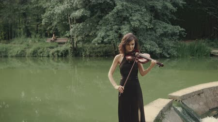 the conception : Young beautiful girl in black dress plays violin staying on bridge outdoors. Elegant brunette violinist in forest. Art conception in 4k Stock Footage