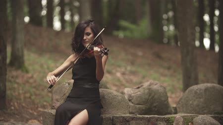 houslista : Elegant violinist plays with inspiration. Beautiful girl in black dress playing violin in forest with slide effect