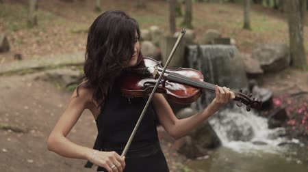 hegedűművész : Beautiful girl in black dress playing violin in forest with waterfall at background. Young violinist plays with inspiration Stock mozgókép