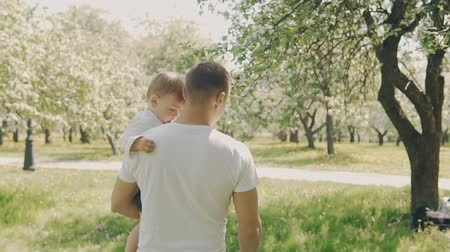 throws : Father and son walking at park. Son in fathers hands. Fatherhood concept. Young father and little son have fun outdoors in slow motion Stock Footage