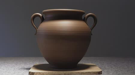 clay pot : Close up view of jug from clay with light effect. Craft. Handmade Stock Footage