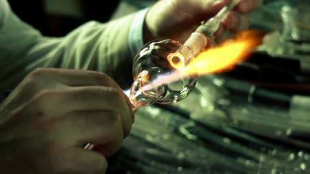 barmetro : Glass-blowing workshop - workflow flame close-up Stock Footage