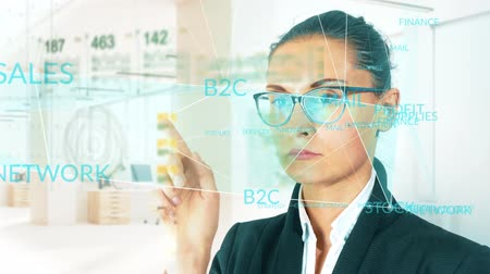 wskaźnik : Business woman on HUD And graph bar futuristic concept technology element on light background - 4K stock footage