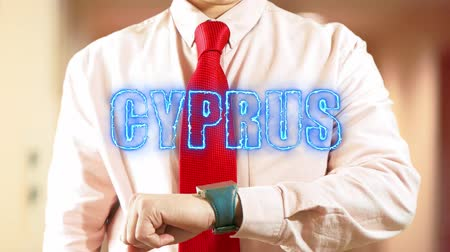 widgets : Cyprus. Futuristic hologram smart device technological concept. Future touchscreen. Hologram clock 4K stock footage Stock Footage