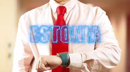 widgets : Estonia. Businessman operating a smart device on light background. Concept: business trip,hologram, technology, augmented reality, future, travel 4K stock footage