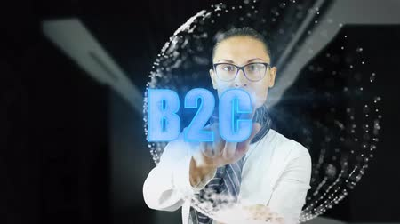 индикатор : B2C. Woman working on holographic interface. Augmented reality. 4k footage clip