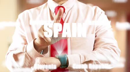 Spain. Businessman operating a smart device on light background. Concept: business trip,hologram, technology, augmented reality, future, travel 4K stock footage Stock Footage