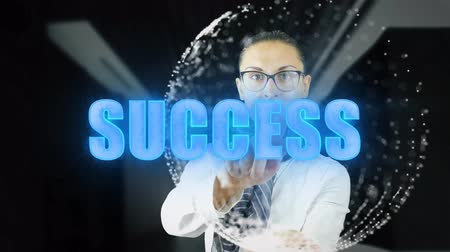 образность : Businesswoman with Success Concept: hologram, technology, augmented reality, future 4k footage clip