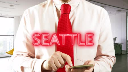 SEATTLE Best Travel Offers with hologram businessman concept - 4K stock footage