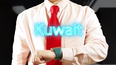 widgets : Kuwait. Man working with hologram clock on dark background. Futuristic concept. Augmented reality 4K stock footage Stock Footage