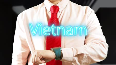 widgets : Vietnam. Futuristic hologram smart device technological concept. Future touchscreen. Hologram clock 4K stock footage Stock Footage