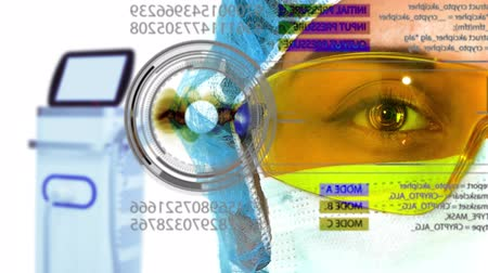 vision care : Closeup female surgeon or doctor wearing mask looking on holographic virtual interface on light background. Concept: futuristic medicine, technology Eye, medical holography, future 4k clip