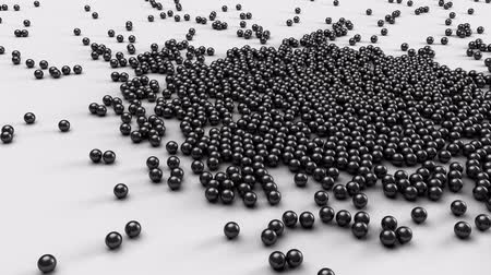 srebro : Metal fraction balls falling and tumbling on a white plane - 4k animation