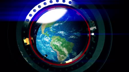 base station : View from a porthole of space station the Earth.
