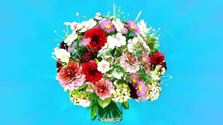 Bouquet of flowers rotating realistic animation Stock Footage